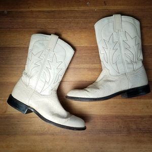 Vintage Panhandle Slim White Leather Boots Sz 6.5B